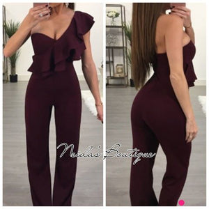 Burgundy Jumpsuit Pants