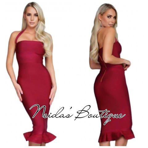 Ariel Burgundy Mermaid Bandage Dress