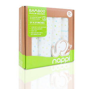 "NAPPI Bamboo Muslin Squares 27"" set of 4 - Polka Dot with Blue Trim - NAPPI Baby USA"