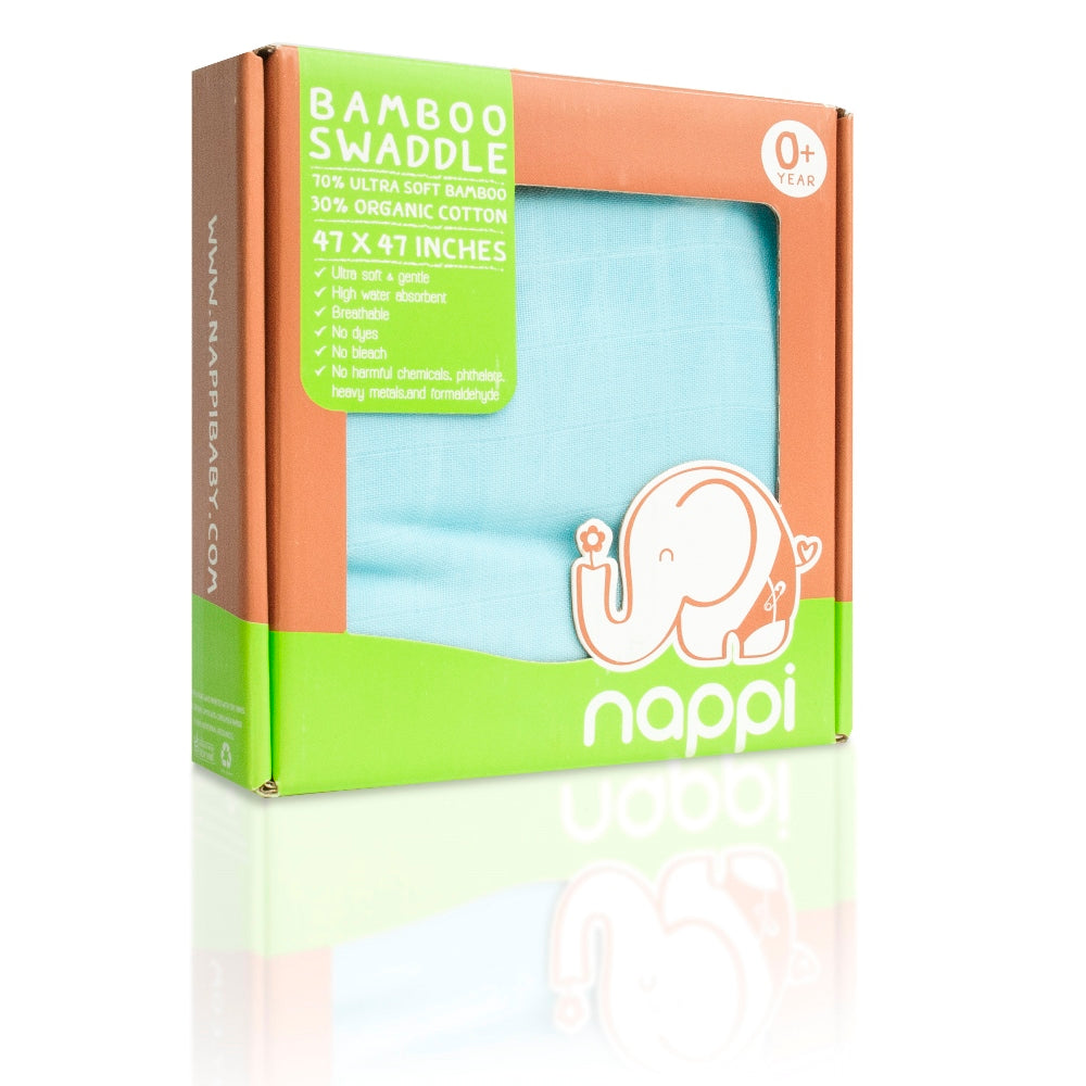 "NAPPI Bamboo Super Soft Swaddle Blanket 47"" - Blue - NAPPI Baby USA"