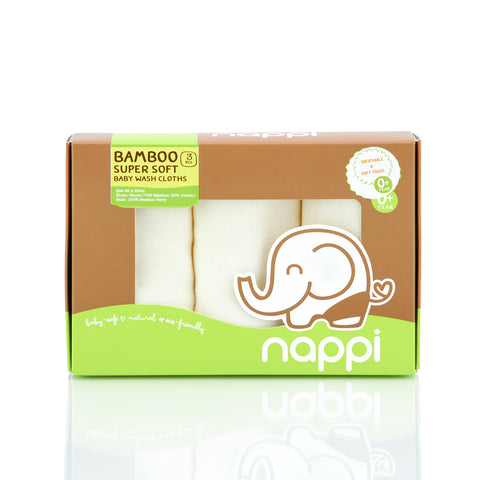 NAPPI Bamboo Japanese Gauze Terry Washcloth, set of 3 - Cream - NAPPI Baby USA