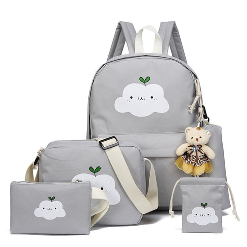 4 Piece Kawaii Cloud Backpack Set-Washi Whale