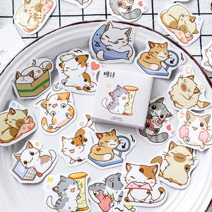 Chibi Cat Stickers (40 pieces)-Washi Whale