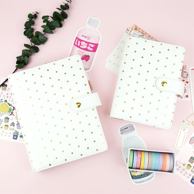 Golden Polka Dot Planner Binder