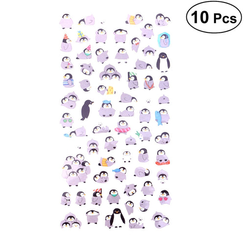 Cartoon Penguin Adhesive Stickers (10 sheets)-Washi Whale