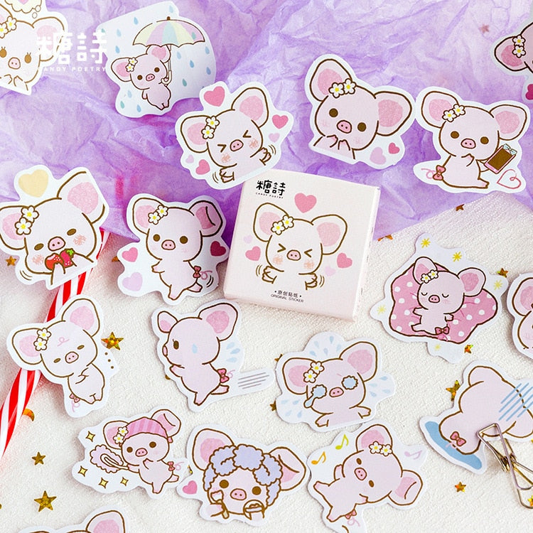 Cute Big Ears Pink Pig Stickers