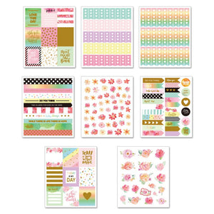 Floral Love Foil Planner Stickers-Washi Whale
