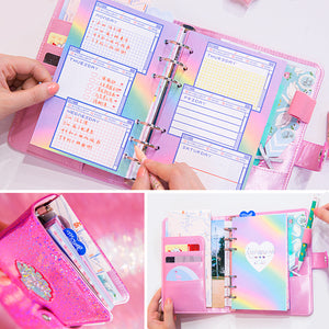 A6 Shimmery Rainbow Planner-Washi Whale