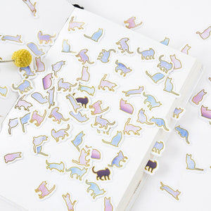 Gold Foil Cat Stickers (100 pieces)-Washi Whale