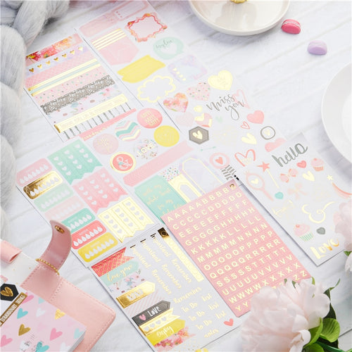 Lovedoki Gold Foil Weekly Planner Stickers-Washi Whale