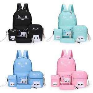 4 Piece Cute Kitty Backpack Set-Washi Whale