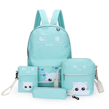Load image into Gallery viewer, 4 Piece Cute Kitty Backpack Set-Washi Whale