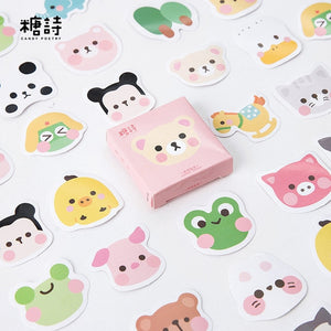 Hello Cutie Animal Stickers (45 piece)-Washi Whale
