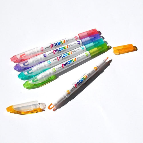 5-Color Uni Propus Window Highlighters-Washi Whale