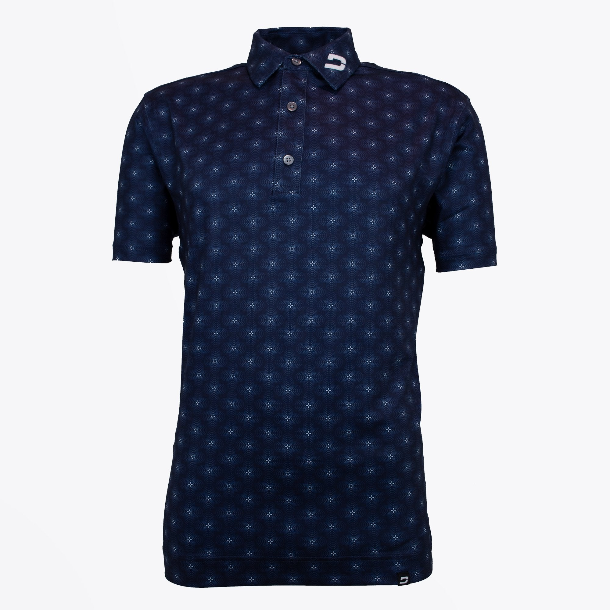 Druids Golf - Mens Floral Polo (Navy)