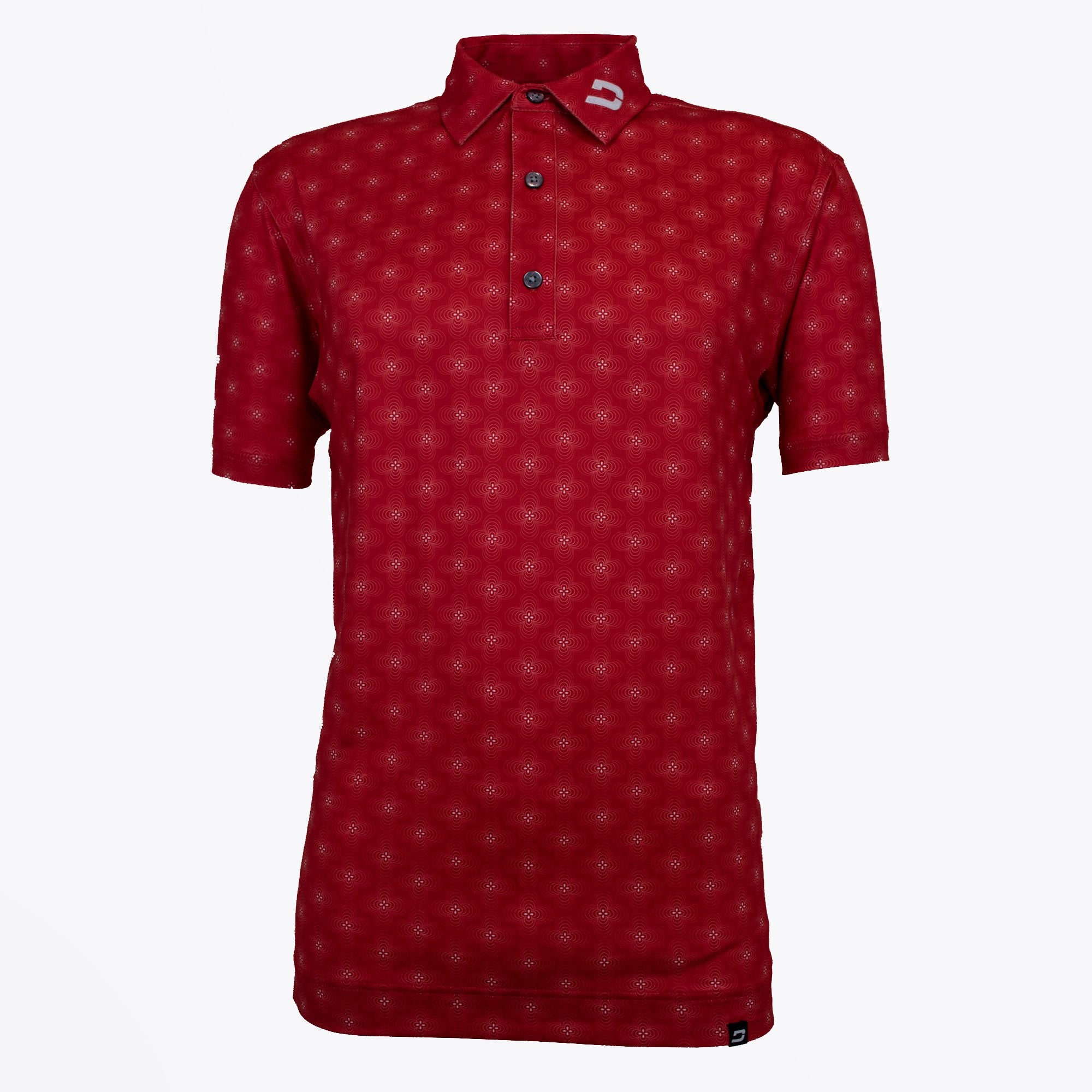 Druids Golf - Mens Floral Polo (Red)