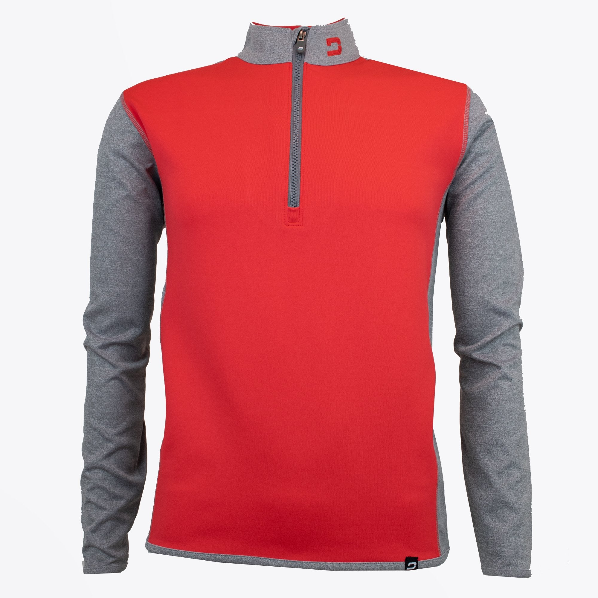 Druids Golf - Mens Storm Stripe 1/4 Zip (Red/Grey)