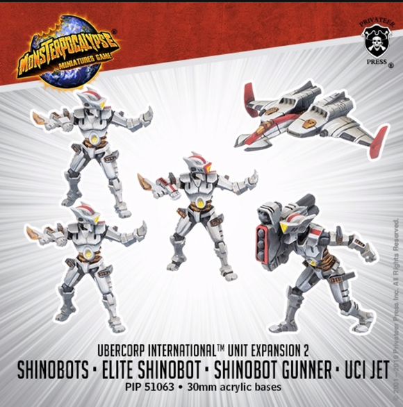 Shinobots, Shinobot Gunner, and UCI Jet Ð Monsterpocalypse Uber Corp International Unit (metal/resin)