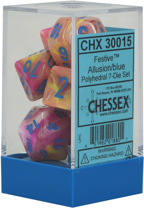 Chessex Festive Allusion w blue 7 Die
