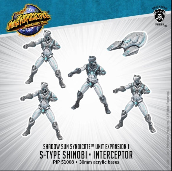 Monsterpocalypse, S-Type Shinobi & Interceptor: Shadow Sun Syndicate Unit (metal/resin)
