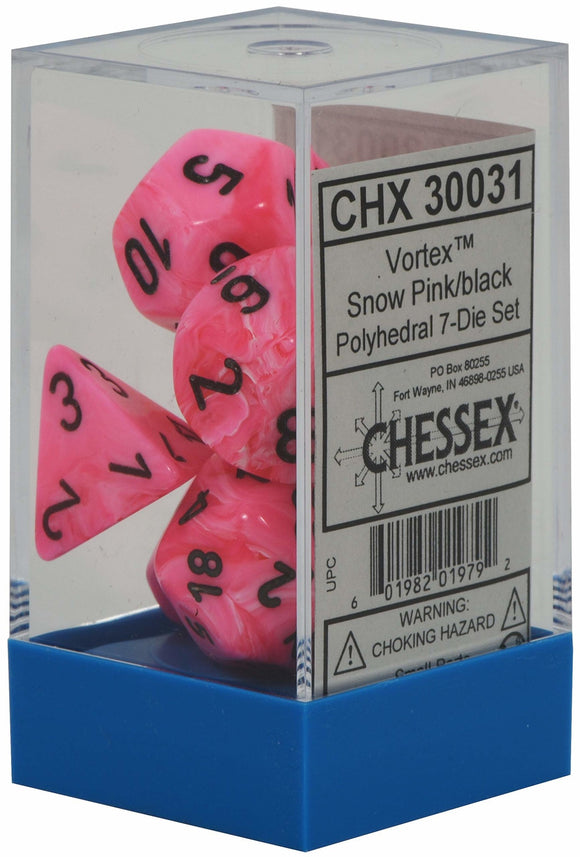 Chessex Vortex Snow Pink w black 7 Die