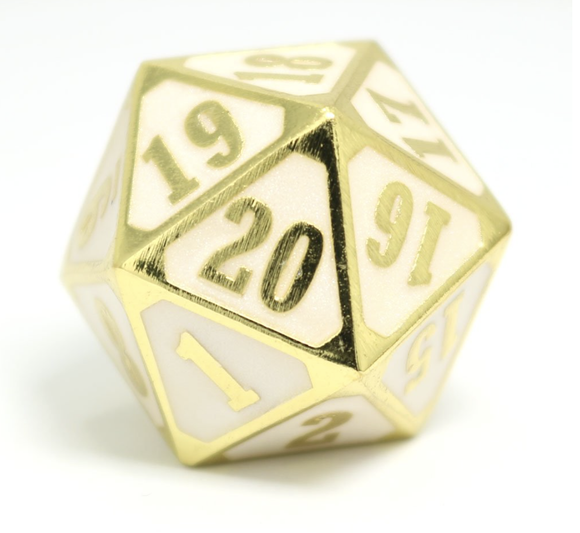Die Hard Dice MTG Roll Down Counter - Shiny Gold w/ White