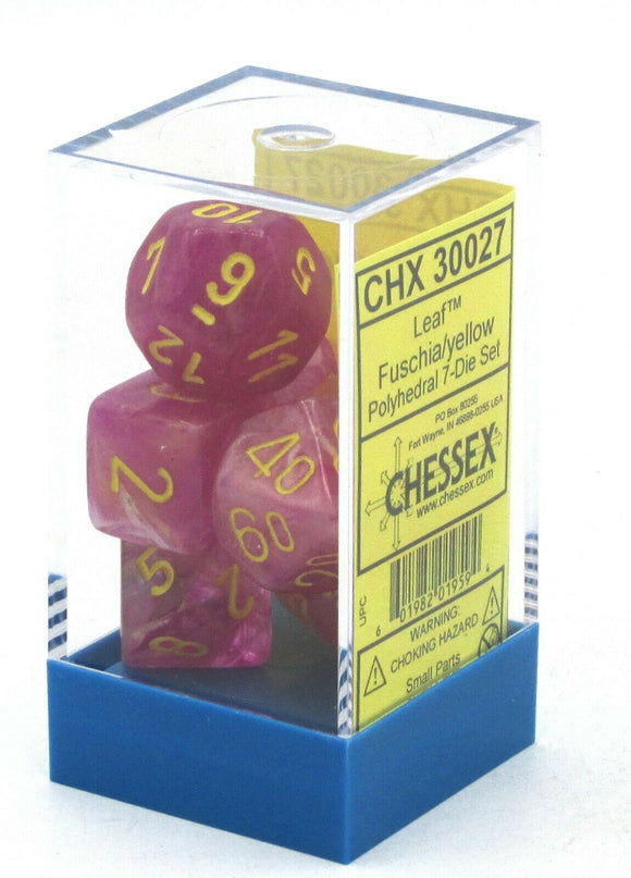 Chessex Leaf Fuschia w yellow 7 Die Set