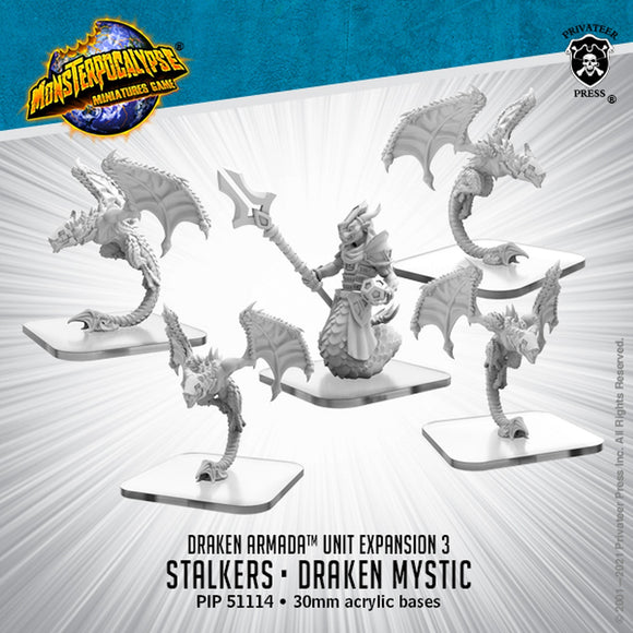 Monsterpocalypse Stalkers and Draken Mystic Draken Armada Unit (metal)