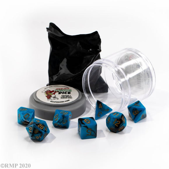 Pizza Dungeon Dice Dual Blue & Black