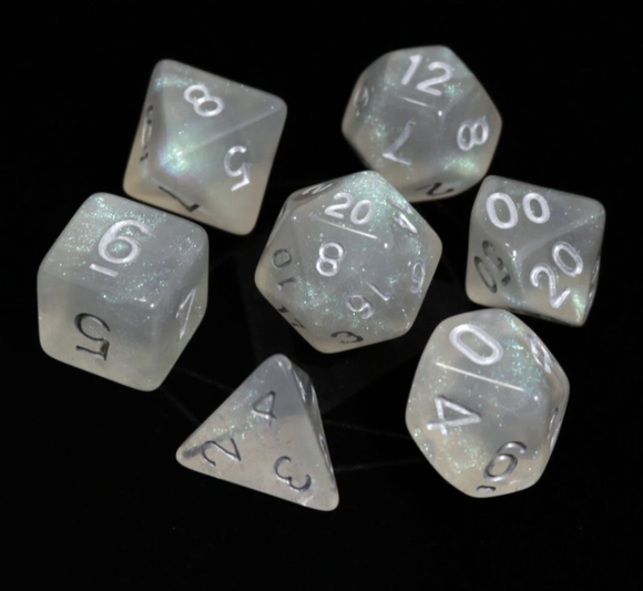 Die Hard Dice RPG Set - Glacial Moonstone w/ Silver