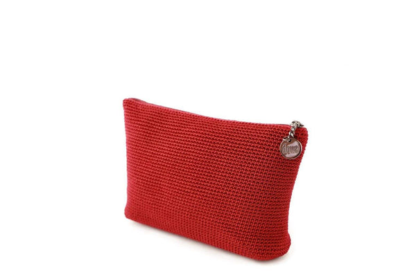 Mulberry Red full crochet cosmetics organiser with silver zipper and circle shaped silver charm with Dowa branding.