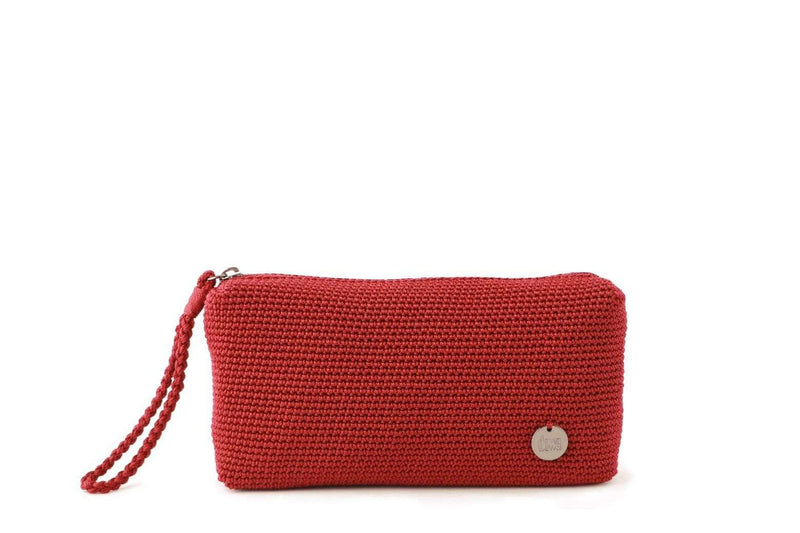 Mulberry Red crochet rectangular pouch with discrete zip at the top. Small silver metal logo attached to the bottom right hand side. Plaited wrist loop attached to zip.