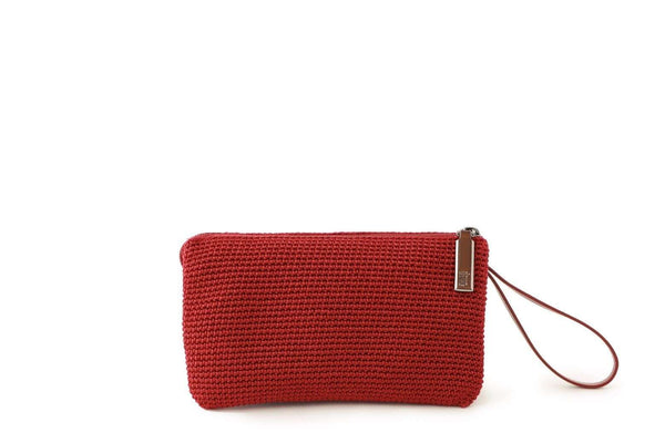 Mulberry Red handmade, crochet accessories with black leather wrist strap and silver zipper with dowa branding.