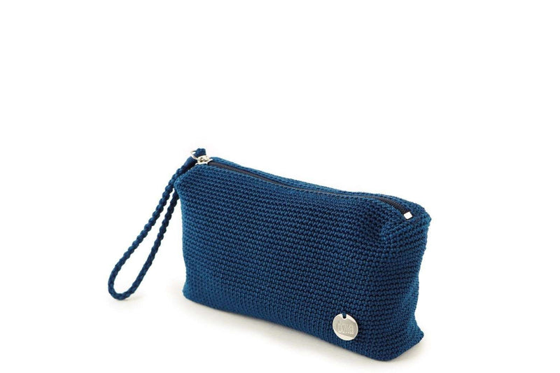 Twilight Blue crochet rectangular pouch with discrete zip at the top. Small silver metal logo attached to the bottom right hand side. Plaited wrist loop attached to zip.