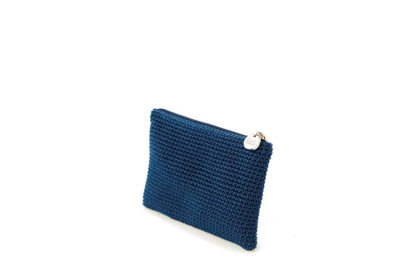 Twilight Blue full crochet purse with silver zipper and circle shaped silver charm with Dowa branding.