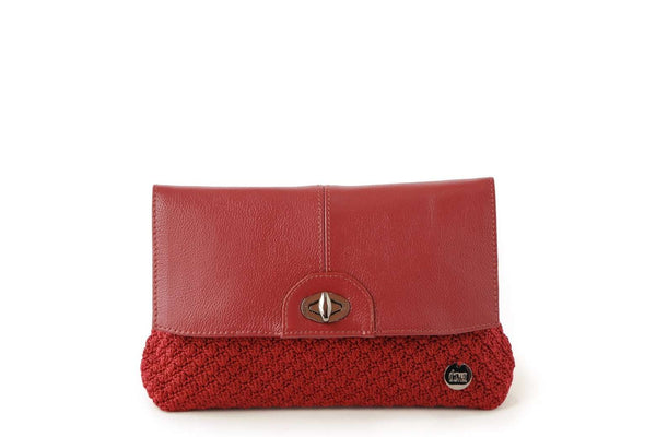 Mulberry Red handmade, crochet ladies clutch with black leather flap-over closure, silver metal front clasp, and small dowa silver metal logo.