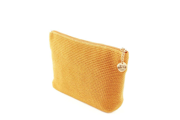 Yellow/Nugget Gold full crochet cosmetics organiser with silver zipper and circle shaped silver charm with Dowa branding.