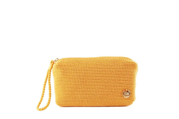 Yellow/Nugget Gold crochet rectangular pouch with discrete zip at the top. Small silver metal logo attached to the bottom right hand side. Plaited wrist loop attached to zip.