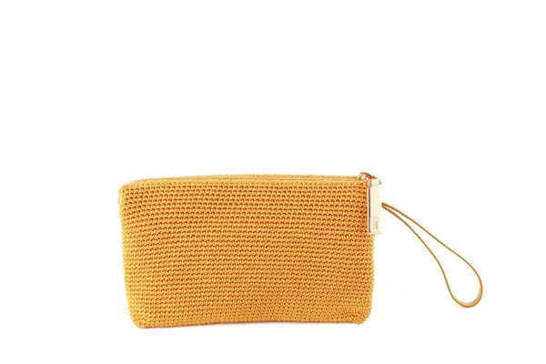 Yellow/Nugget Gold handmade, crochet accessories with black leather wrist strap and silver zipper with dowa branding.