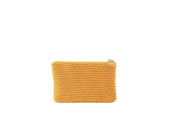 Yellow/Nugget Gold full crochet purse with silver zipper and circle shaped silver charm with Dowa branding.