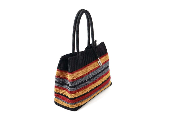 "Black ladies handbag, made entirely out of crochet with a playful striped colour combination. Dual tubular carry top handles also crocheted. Secured at the top with a magnetic snap closure. Hanging silver metal ""d"" logo."