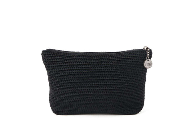 Black full crochet cosmetics organiser with silver zipper and circle shaped silver charm with Dowa branding.
