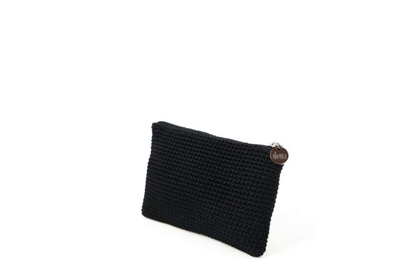 Black full crochet purse with silver zipper and circle shaped silver charm with Dowa branding.