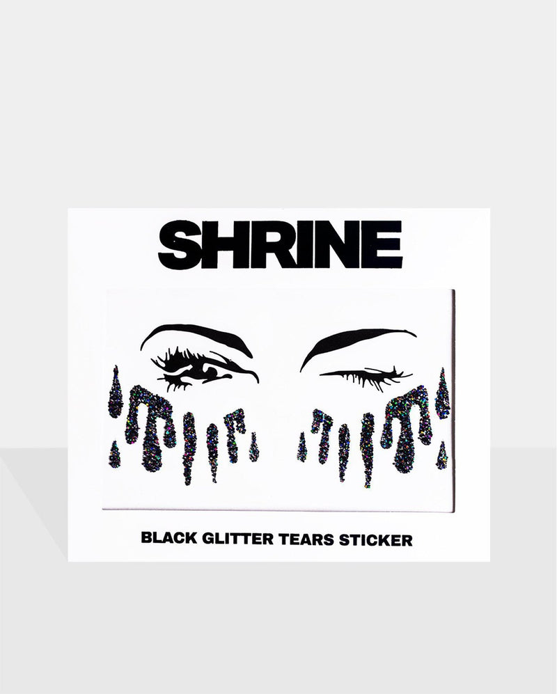 Black Tears Glitter Sticker