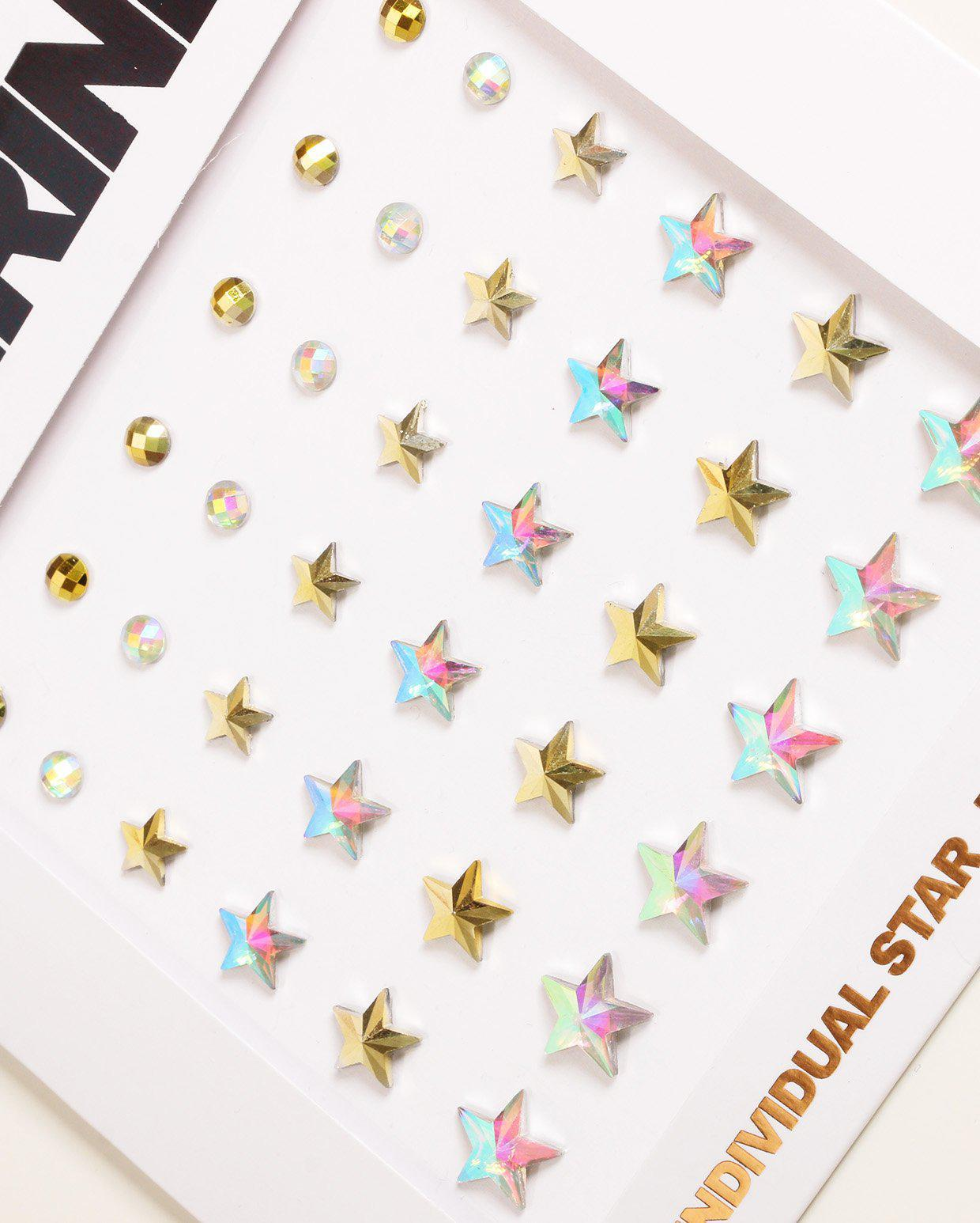 Close up of individual star face jewels