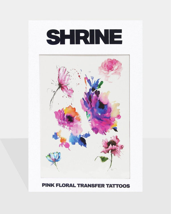 Pink Floral Transfer Tattoos