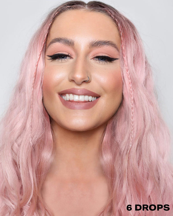 Pink semi permanent hair dye using 6 drops of DROP IT