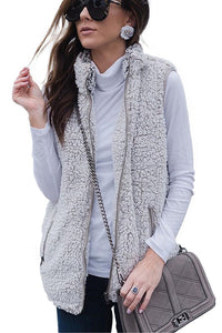 Grey Vest Zipper Pockets