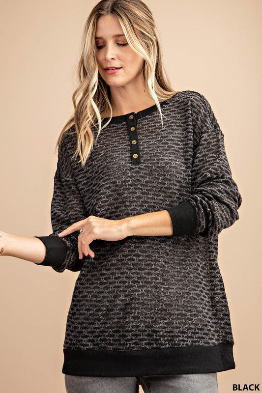Black Front Button Knit Top