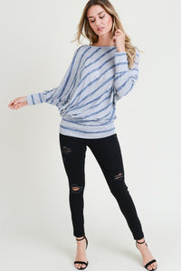 Grey Striped Dolman Cold Shoulder
